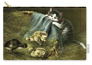 Kitten Peeking In On Chicks Carry-all Pouch