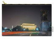 Lincoln Memorial Monument With Car Trails At Night Carry-all Pouch