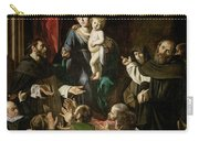 Madonna Of The Rosary Carry-all Pouch by Caravaggio
