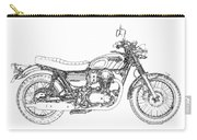 Motorcycle Art, Black And White Carry-all Pouch