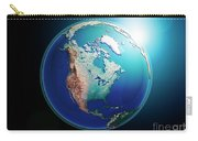North America 3d Render Planet Earth Dark Space Carry-all Pouch