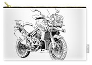 Original Motorcycle Portrait, Gift For Biker, Black And White Art Carry-all Pouch