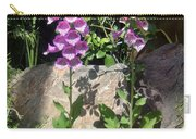 2 Pink Bell Flowers. Foxglove Carry-all Pouch