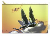 Psychedelic Metal Sculpture Of Two Swans Flying Carry-all Pouch