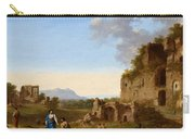 Roman Landscape With Ruins And Travellers Carry-all Pouch