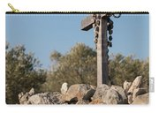 Rosary Hanging On A Small Wooden Cross On A Stone Wall Carry-all Pouch