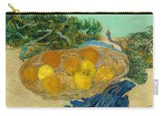 Still Life Of Oranges And Lemons With Blue Gloves Carry-all Pouch