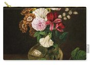 Still Life With Flowers In A Glass Vase And Cherry Twig Carry-all Pouch