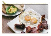 Traditional English British Fried Breakfast With Eggs Bacon And  Carry-all Pouch