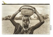 Young Boy From The African Tribe Mursi, Ethiopia Carry-all Pouch