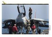 An F-14d Tomcat On The Flight Deck Carry-all Pouch by Gert Kromhout