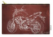 2018 Yamaha Mt-07 Blueprint - Red Background Carry-all Pouch