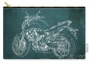 2018 Yamaha Mt07 Blueprint Green Background Fathers Day Gift Carry-all Pouch