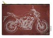 2018 Yamaha Mt07 Blueprint  Red Background Fathers Day Gift Carry-all Pouch