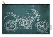 2018 Yamaha Mt07,blueprint,green Background,fathers Day Gift,2018 Carry-all Pouch