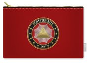 20th Degree - Master Of The Symbolic Lodge Jewel On Red Leather Carry-all Pouch