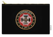 27th Degree - Knight Of The Sun Or Prince Adept Jewel On Black Leather Carry-all Pouch