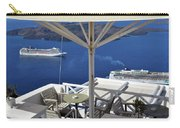 28 September 2016 Restaurant By The Aegean Sea  In Santorini, Greece  Carry-all Pouch