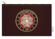 28th Degree - Knight Commander Of The Temple Jewel On Black Leather Carry-all Pouch