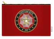 28th Degree - Knight Commander Of The Temple Jewel On Red Leather Carry-all Pouch