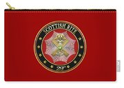29th Degree - Scottish Knight Of Saint Andrew Jewel On Red Leather Carry-all Pouch