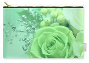 A Gift Of Preservrd Flower And Clay Flower Arrangement, White An Carry-all Pouch