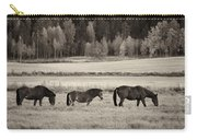 Horses Of The Fall  Bw Carry-all Pouch