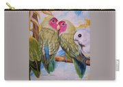Flygende Lammet   Productions             3 Love Birds Perched Carry-all Pouch