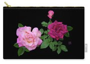 3 Pink Roses Cutout Carry-all Pouch