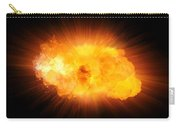 Realistic Fire Explosion, Orange Blast With Sparks Isolated On Black Background Carry-all Pouch