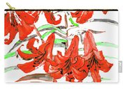 Red Lilies, Hand Drawn Painting Carry-all Pouch
