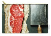 Vintage Cleaver And Raw Beef Steak Carry-all Pouch