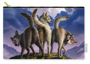 3 Wolves Mooning Carry-all Pouch