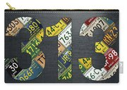 313 Area Code Detroit Michigan Recycled Vintage License Plate Art Carry-all Pouch