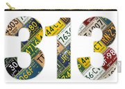 313 Area Code Detroit Michigan Recycled Vintage License Plate Art On White Background Carry-all Pouch