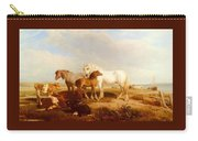 Willis Henry Brittan Horses And Cattle On The Shore Henry Brittan Willis Carry-all Pouch