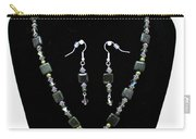 3576 Kambaba And Green Lace Jasper Necklace And Earrings Carry-all Pouch