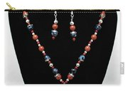 3578 Jasper And Agate Long Necklace And Earrings Set Carry-all Pouch