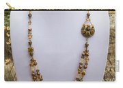 3615 Long Pearl Crystal And Citrine Necklace Featuring Vintage Brass Brooch  Carry-all Pouch