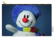 A Cute Little Soft Snowman With A Blue Hat And A Colorful Scarf Carry-all Pouch