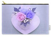 A Gift Of Preservrd Flower And Clay Flower Arrangement, Blue And Carry-all Pouch