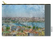 Istanbul Turkey Cityscape Digital Watercolor On Photograph Carry-all Pouch