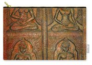 4 Panels Buddhas Wall Carving With Antique Filter Carry-all Pouch