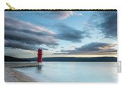 Red Lighthouse Of Cres On A Cloudy Day In Spring Carry-all Pouch