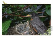 Robin Feeding Its Young Carry-all Pouch