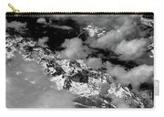 Rocky Mountains In Colorado With Snow Aerial Black And White Carry-all Pouch