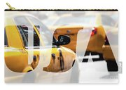 Yellow Cab Speeds Through Times Square In New York, Ny, Usa.  Carry-all Pouch