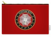 4th Degree - Secret Master Or Master Traveler Jewel On Red Leather Carry-all Pouch