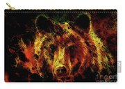 head of mighty brown bear, oil painting on canvas and graphic collage. Eye contact. Carry-all Pouch