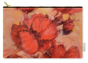 Poppy Flowers Handmade Oil Painting On Canvas Carry-all Pouch
